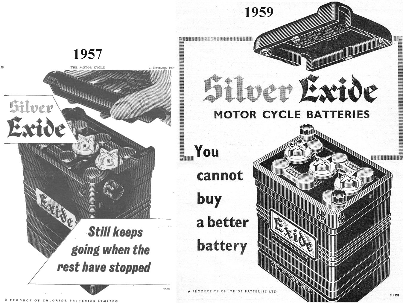 Vincent Motorcycle Electrics Velocette1958leenginediagramjpg 1957 And 1959 Chloride Batteries Ltd Exide Battery Ads I Have Always Wondered Why The Empty Case Supplied By Restoration Suppliers Did Not Seem