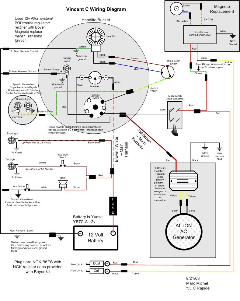Vincent_Wiring_Diagram_08 06 08_Color_FD_wth_Alton_PODtronics_and_BoyerIgnition vincent motorcycle electrics john deere 4020 12 volt wiring diagram at bayanpartner.co